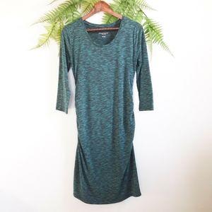 Liz Lange Maternity Burnout Midi Dress Green Black